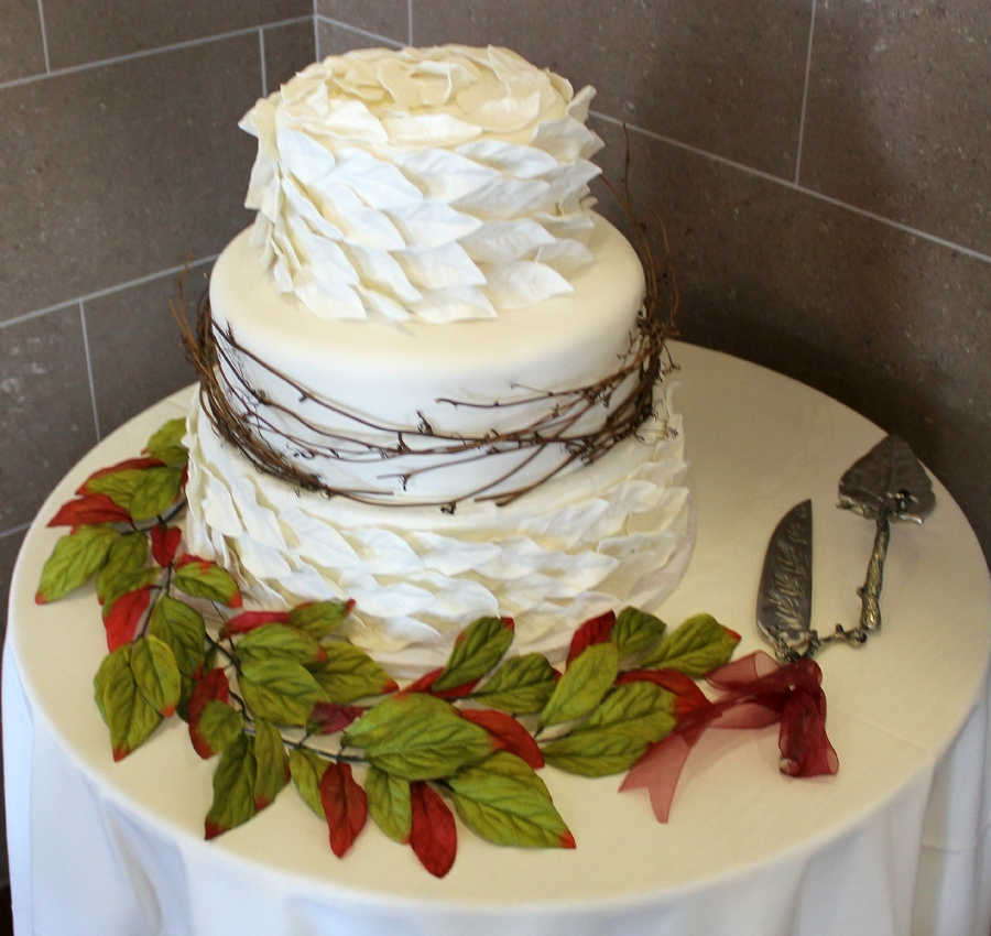 Leaf Wedding Cake on Cake Central