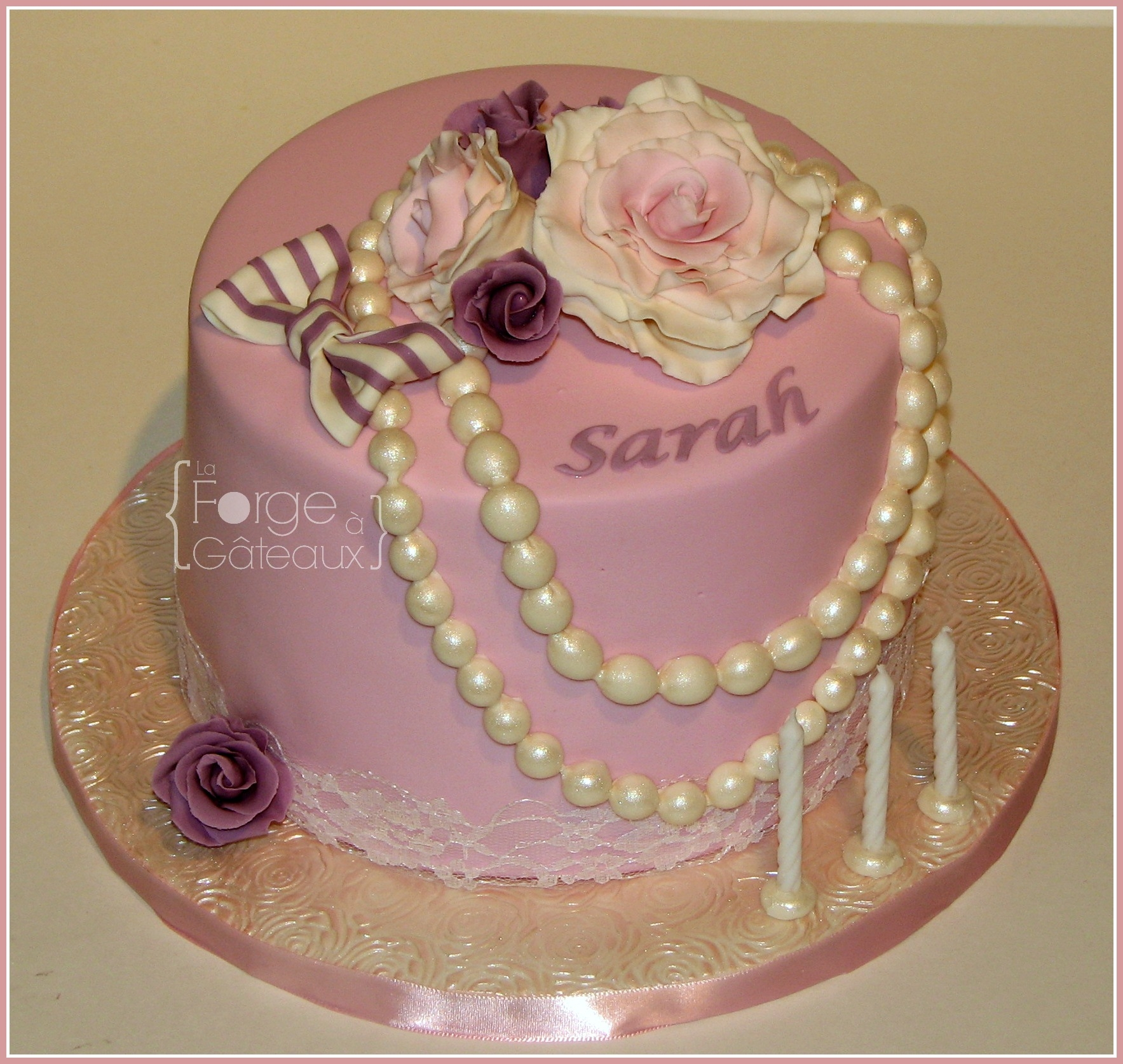 Vintage Roses & Pearl on Cake Central