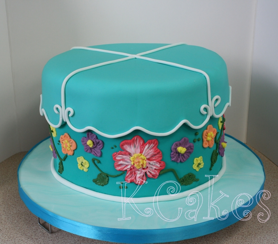 Brushed Embroidery Flowers on Cake Central