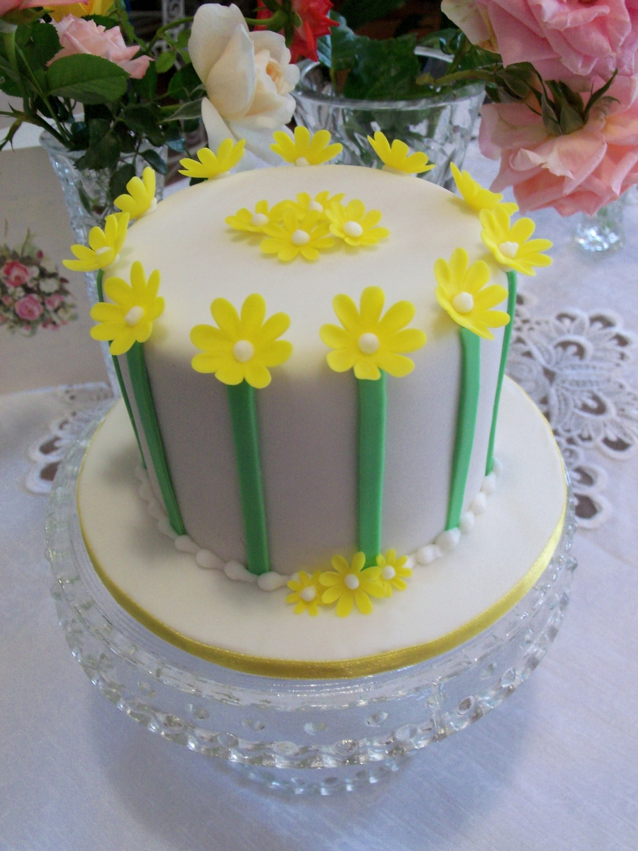 Daisies And Stripes on Cake Central