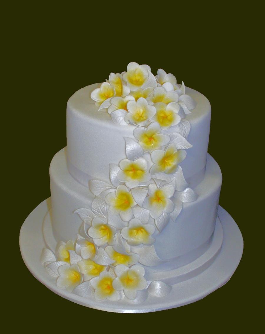2 Tier Frangipani Wedding Cake