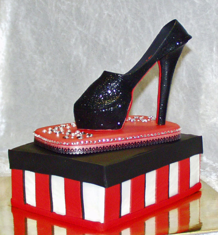 Christian Louboutoin Black Alti Pumps - Stiletto With Shoebox Cake on Cake Central