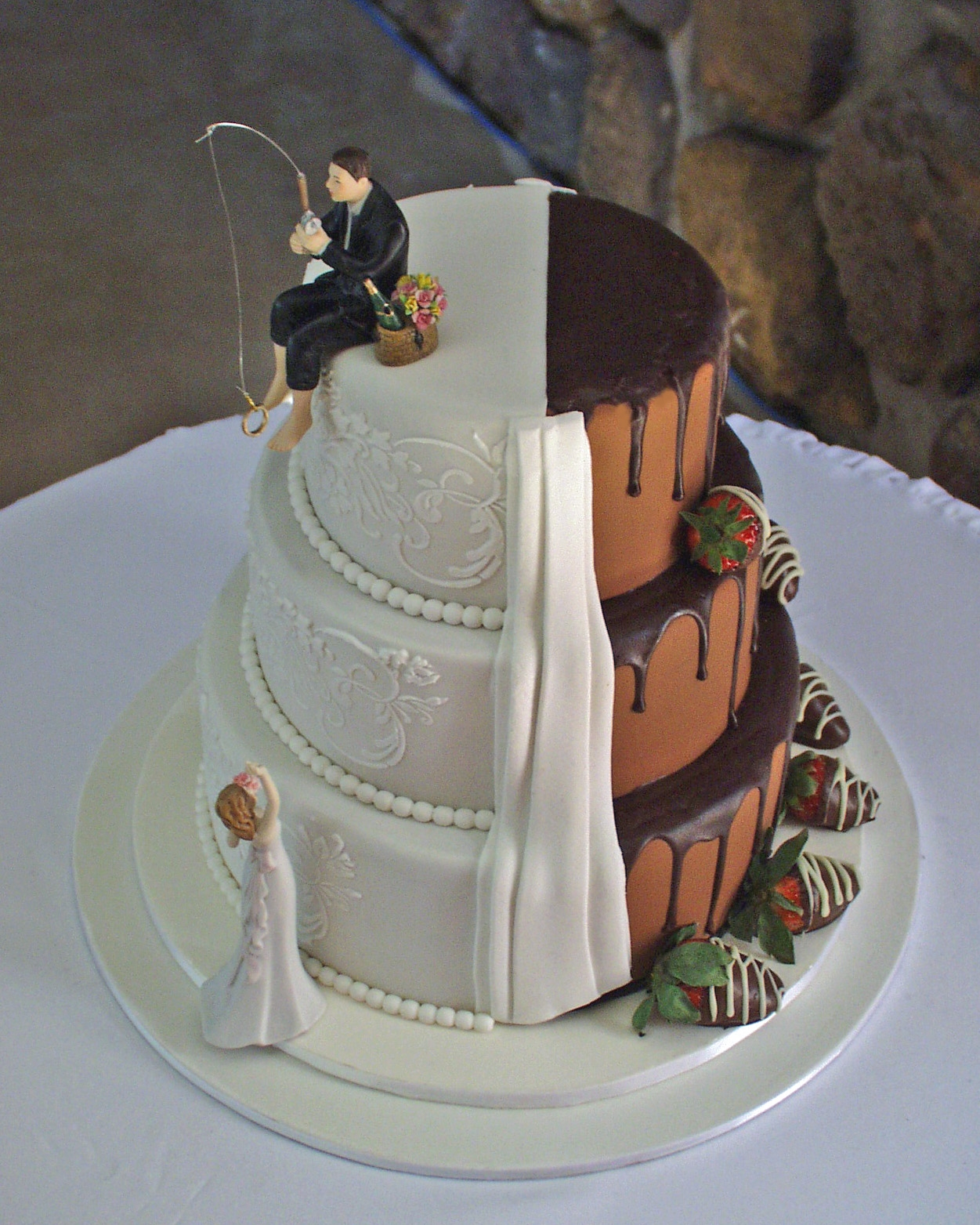 half wedding cake half grooms cake quot half and half quot wedding cake cakecentral 15054