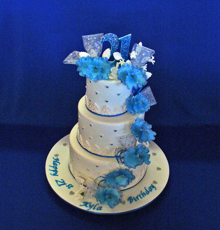 Superb Blue Orchids 21St Birthday Cake Cakecentral Com Personalised Birthday Cards Arneslily Jamesorg