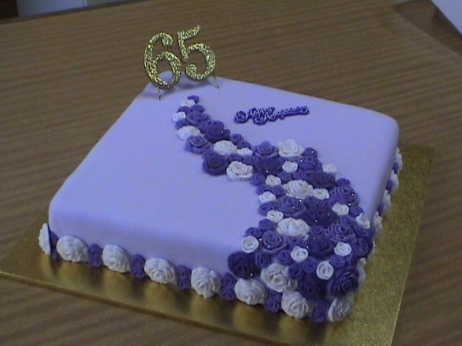 purple rose 65th wedding anniversary cake. Black Bedroom Furniture Sets. Home Design Ideas