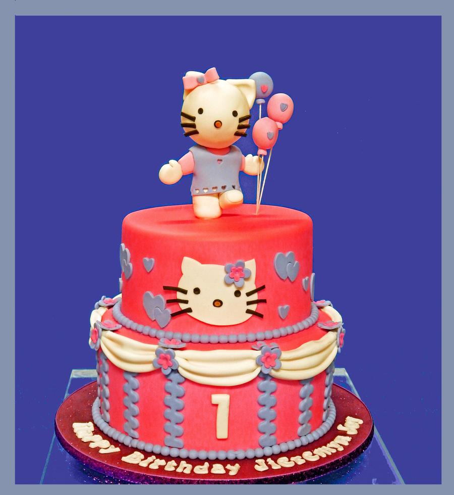Prime Hello Kitty 1St Birthday Cake Cakecentral Com Personalised Birthday Cards Veneteletsinfo
