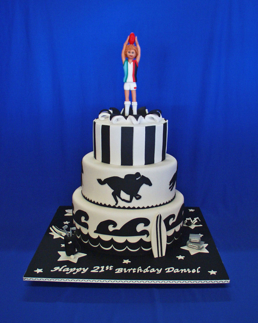 Black And White Sporting 21St Birthday Cake on Cake Central