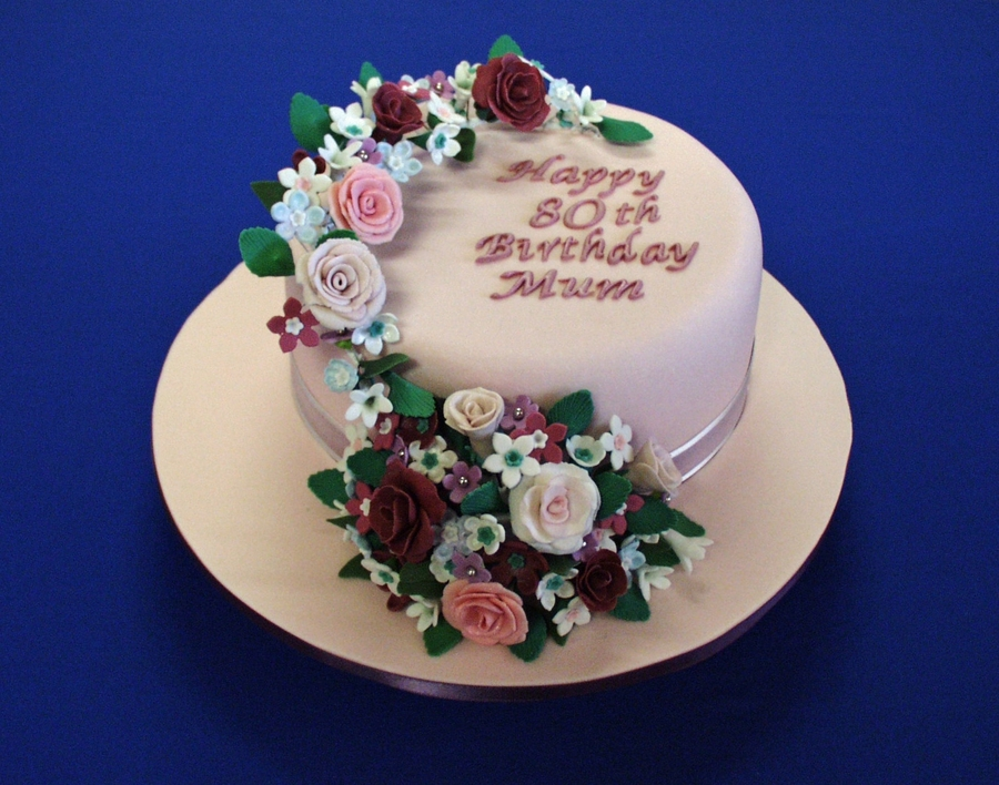 Floral Garland 80Th Birthday Cake on Cake Central