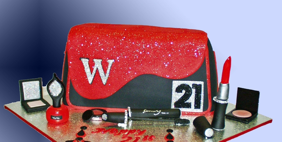 Clutch Purses And Make-Up 21St Birthday Cake on Cake Central