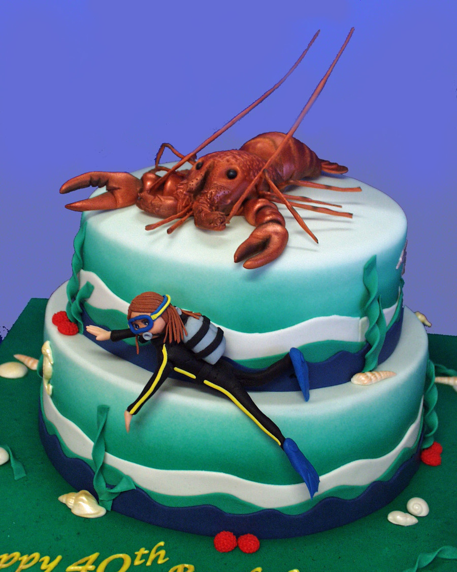 Lobster Diver Birthday Cake on Cake Central