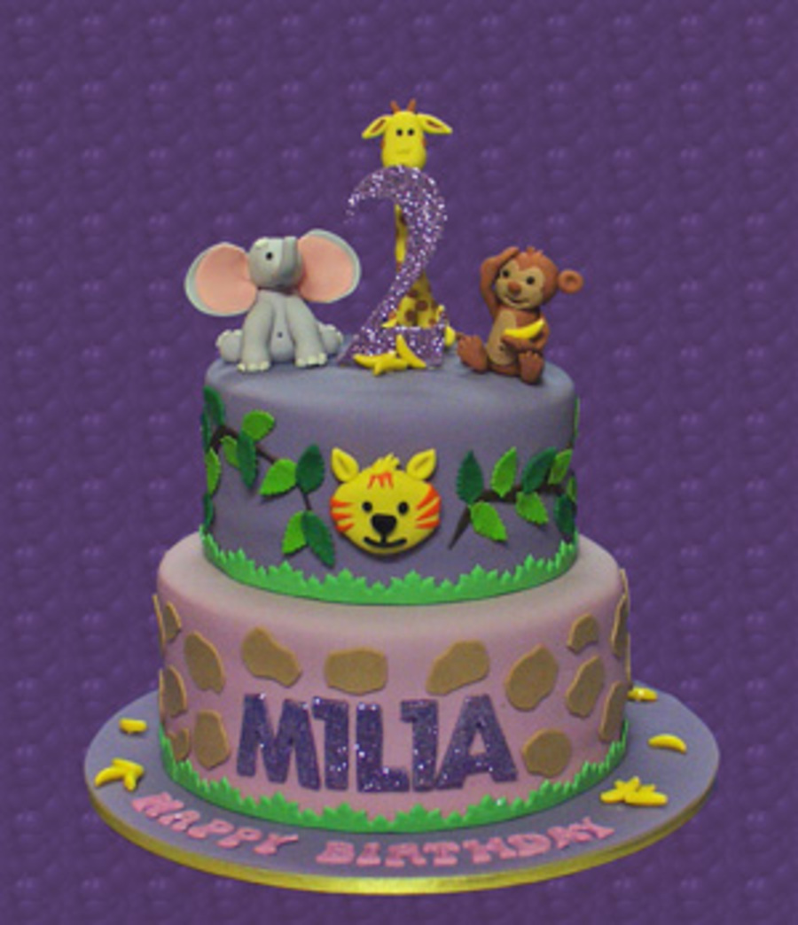 A Chocolate Mud Cake With Ganache Filling And Fondant Icing Jungle Theme Decorations Animals Made Form Gum Paste