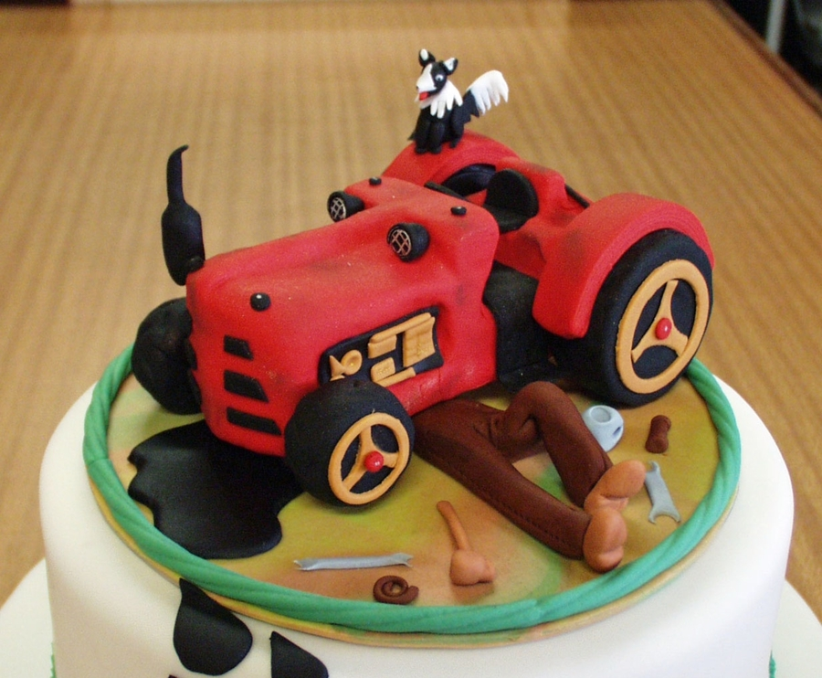 Old Vintage Tractor Birthday Cake Cakecentral Com