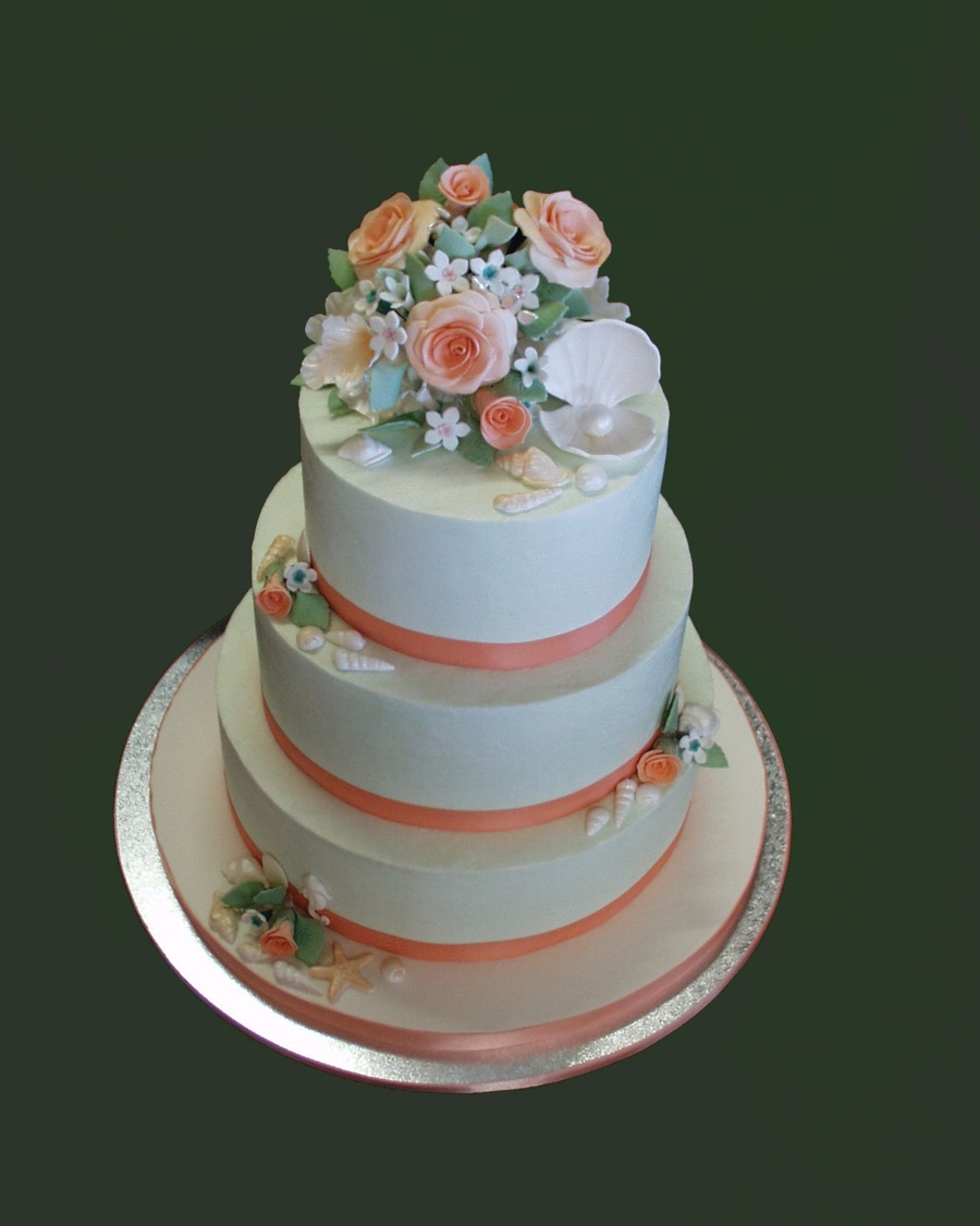 Roses, Orchid And Ocean Themed Wedding Cake on Cake Central