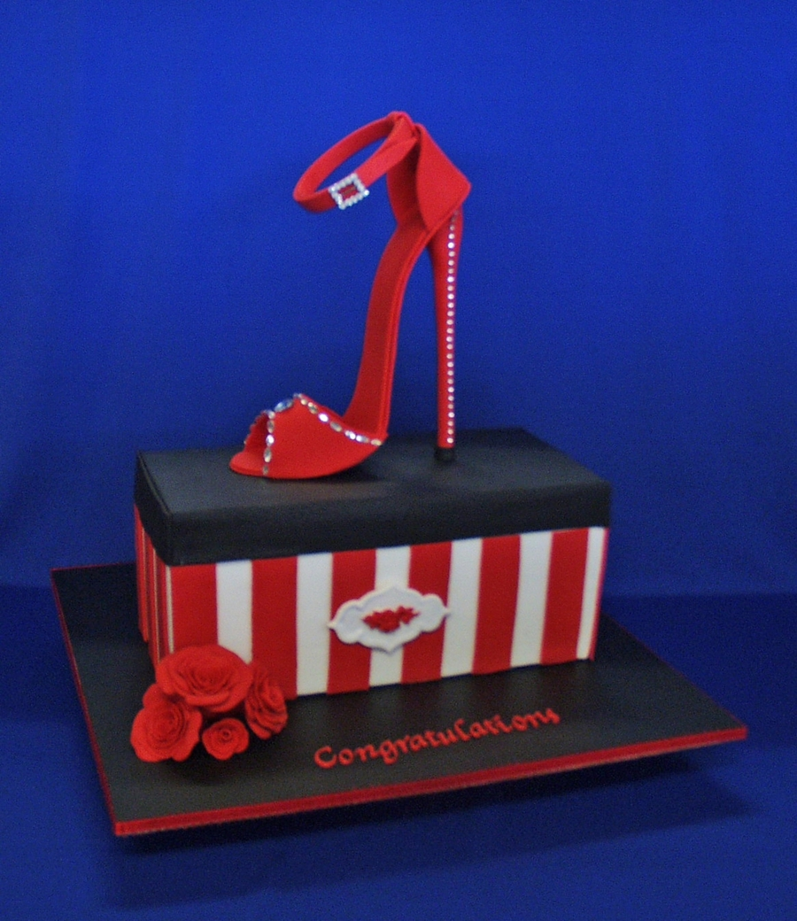 Super Red Stiletto And Shoebox Cake on Cake Central