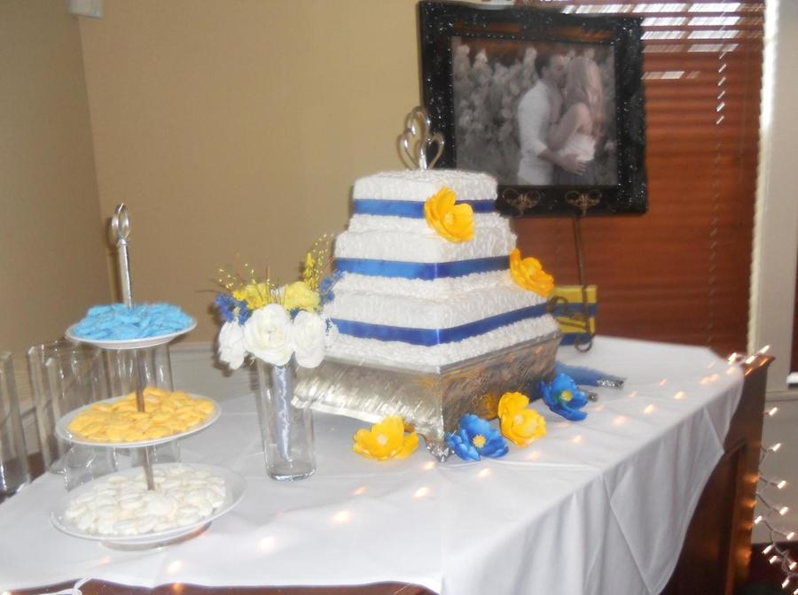 Blue And Yellow Wedding Cake on Cake Central