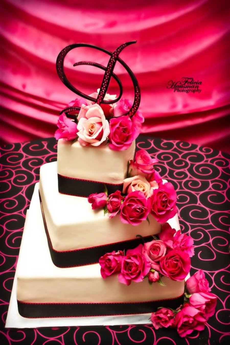 Pink And Black Square Offset Wedding Cake - CakeCentral.com