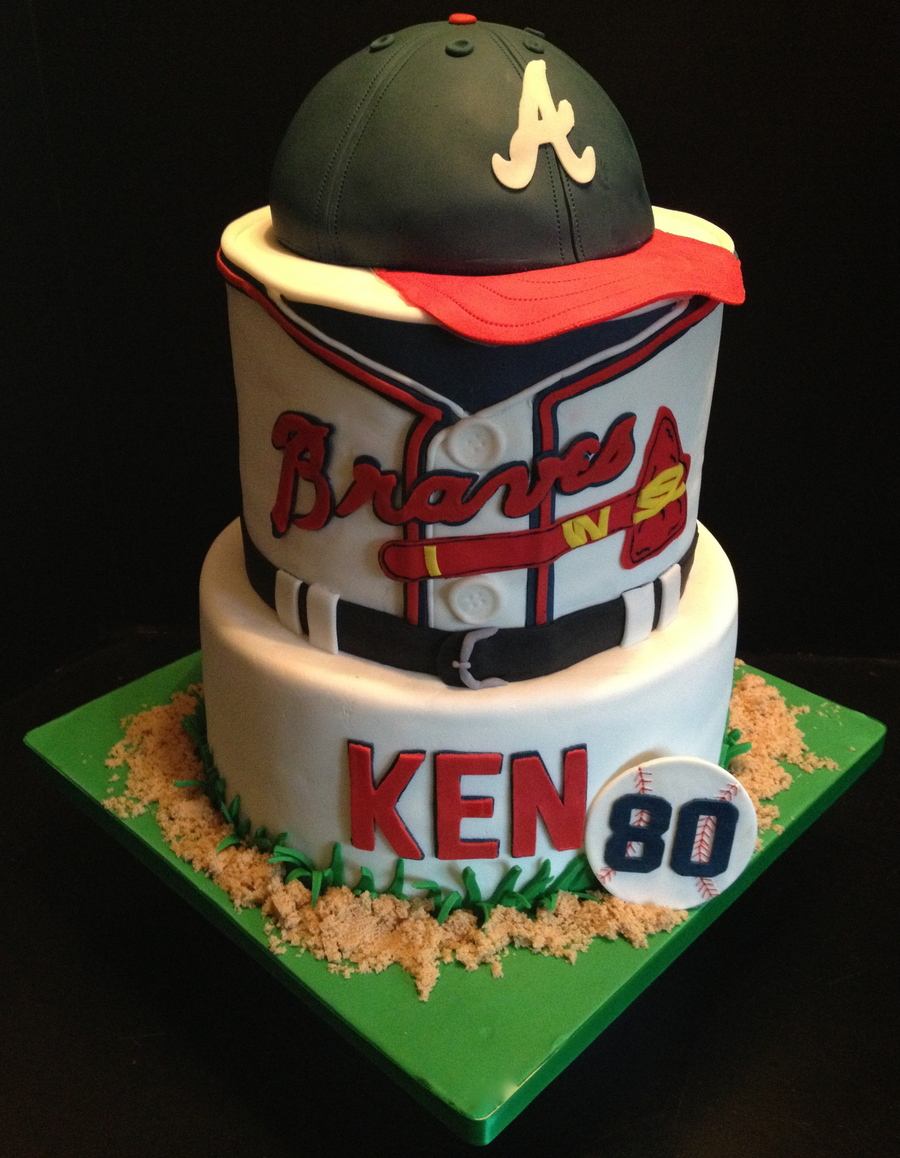 Awesome Atlanta Braves Baseball Birthday Cake Cap Is Done With The Wilton Funny Birthday Cards Online Fluifree Goldxyz