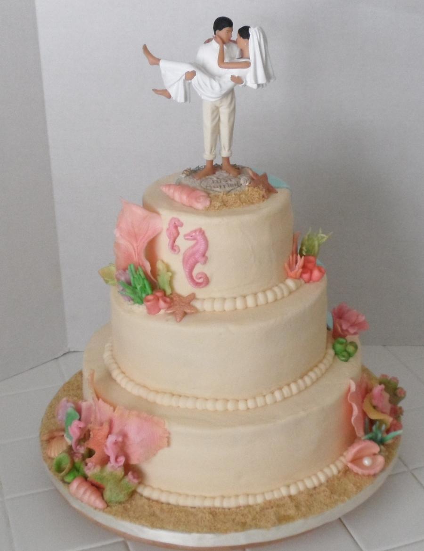 Beach Themed 3 Tier Wedding Cake Cakecentral Com