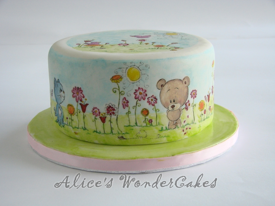 Painted Spring Cake CakeCentralcom