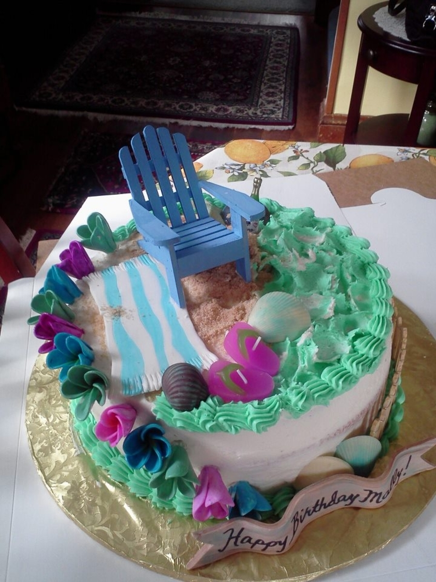 60Th Birthday Beach Cake  on Cake Central