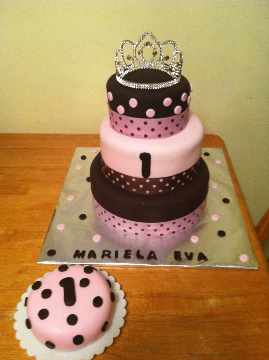 Polka Dot Pink And Brown Cake. on Cake Central