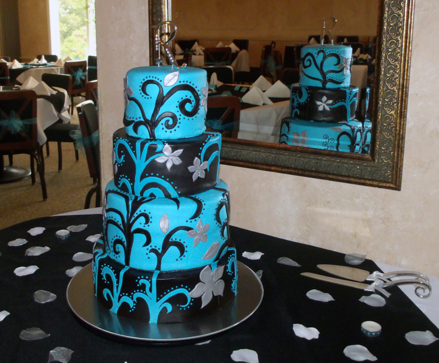 Blue, Black And Silver Round Wedding Cake - CakeCentral.com
