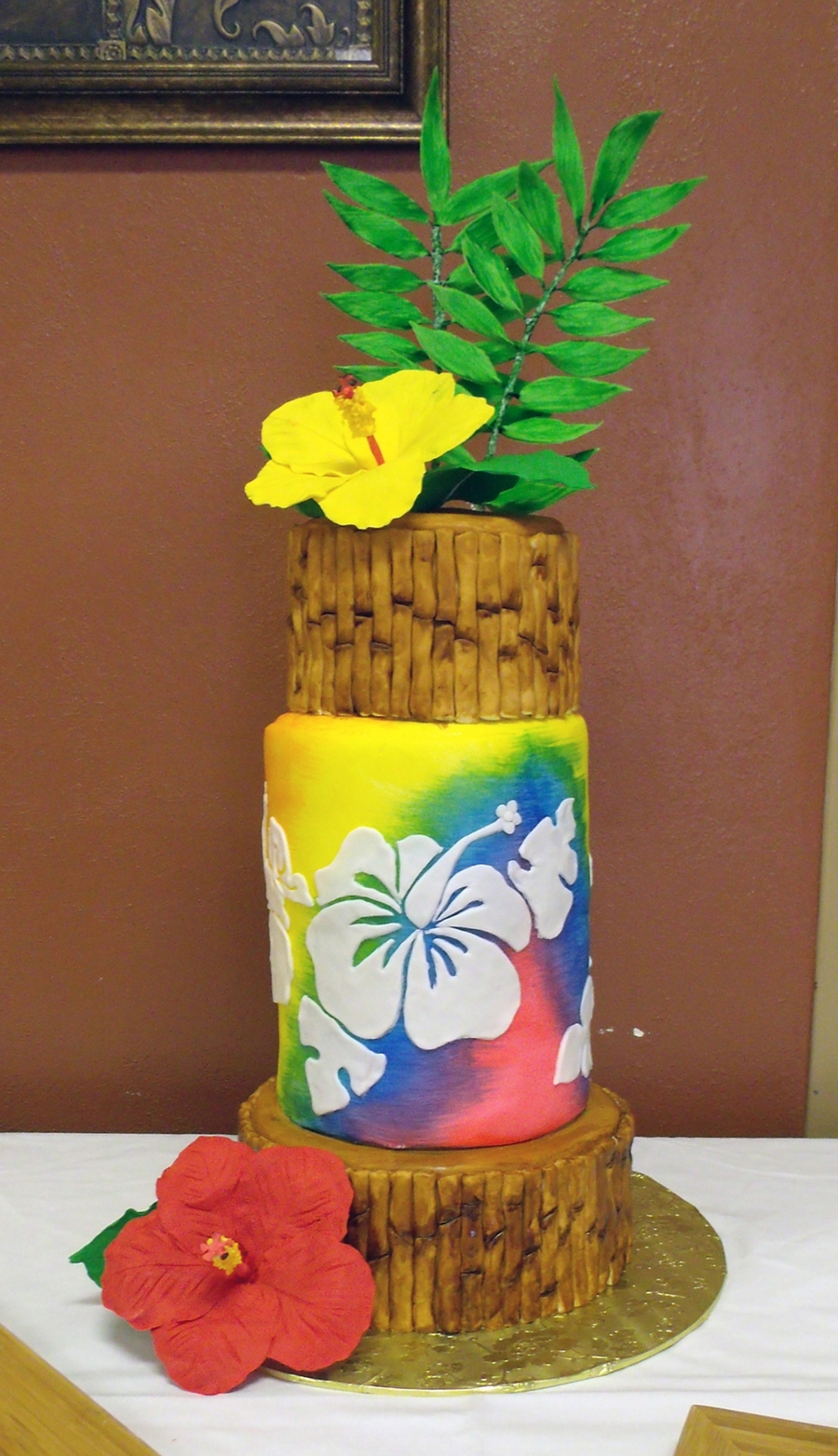 Tropical themed cake with sugar hibiscus flowers cakecentral izmirmasajfo