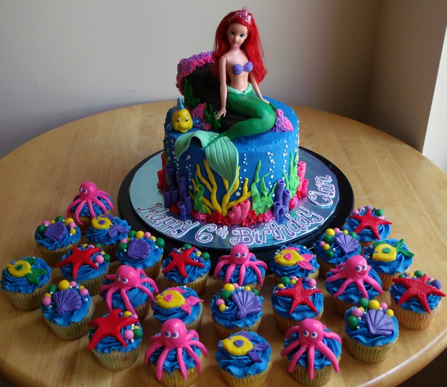 The Little Mermaid Cake And Cupcakes - CakeCentral.com