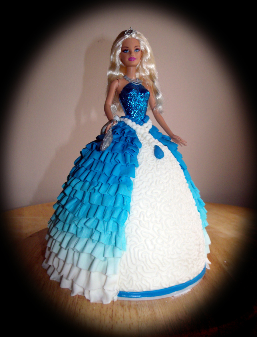 Download Barbie Cake Images : Blue Ruffled Barbie Princess Birthday Cake - CakeCentral.com