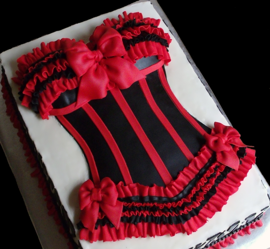 Sexy Red And Black Bustier Cake Cakecentral Com