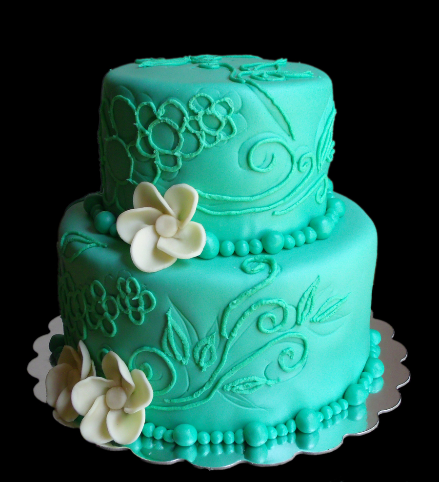 Blue Green Cake With White Chocolate Flowers Cakecentral Com