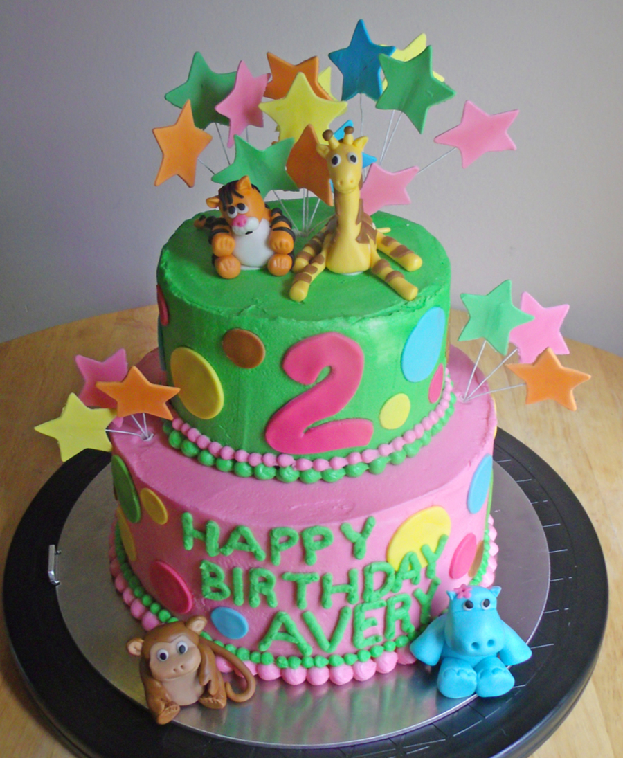 Baby Shower Zoo Cakes ~ Baby zoo animals birthday cake cakecentral