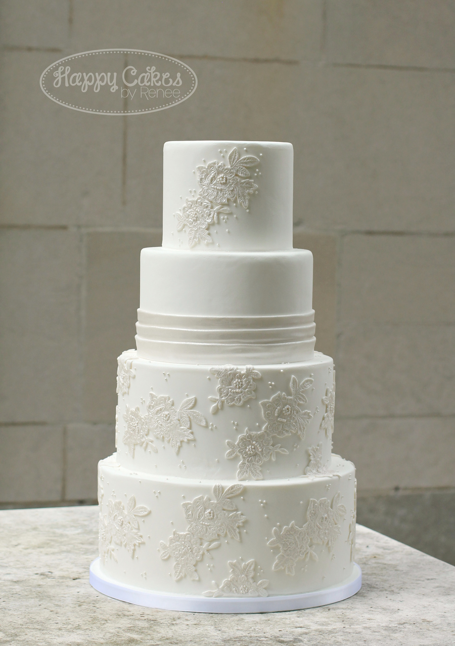 Lace Applique Wedding Cake Cakecentral Com
