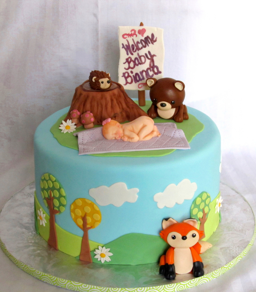 Woodland Stump Baby Shower Cake