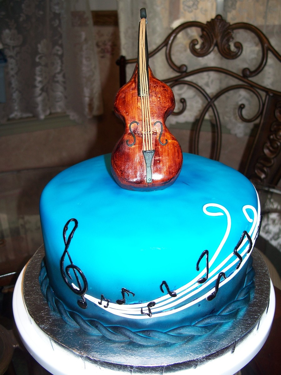 Double Bass Upright Guitar Birthday Cake on Cake Central