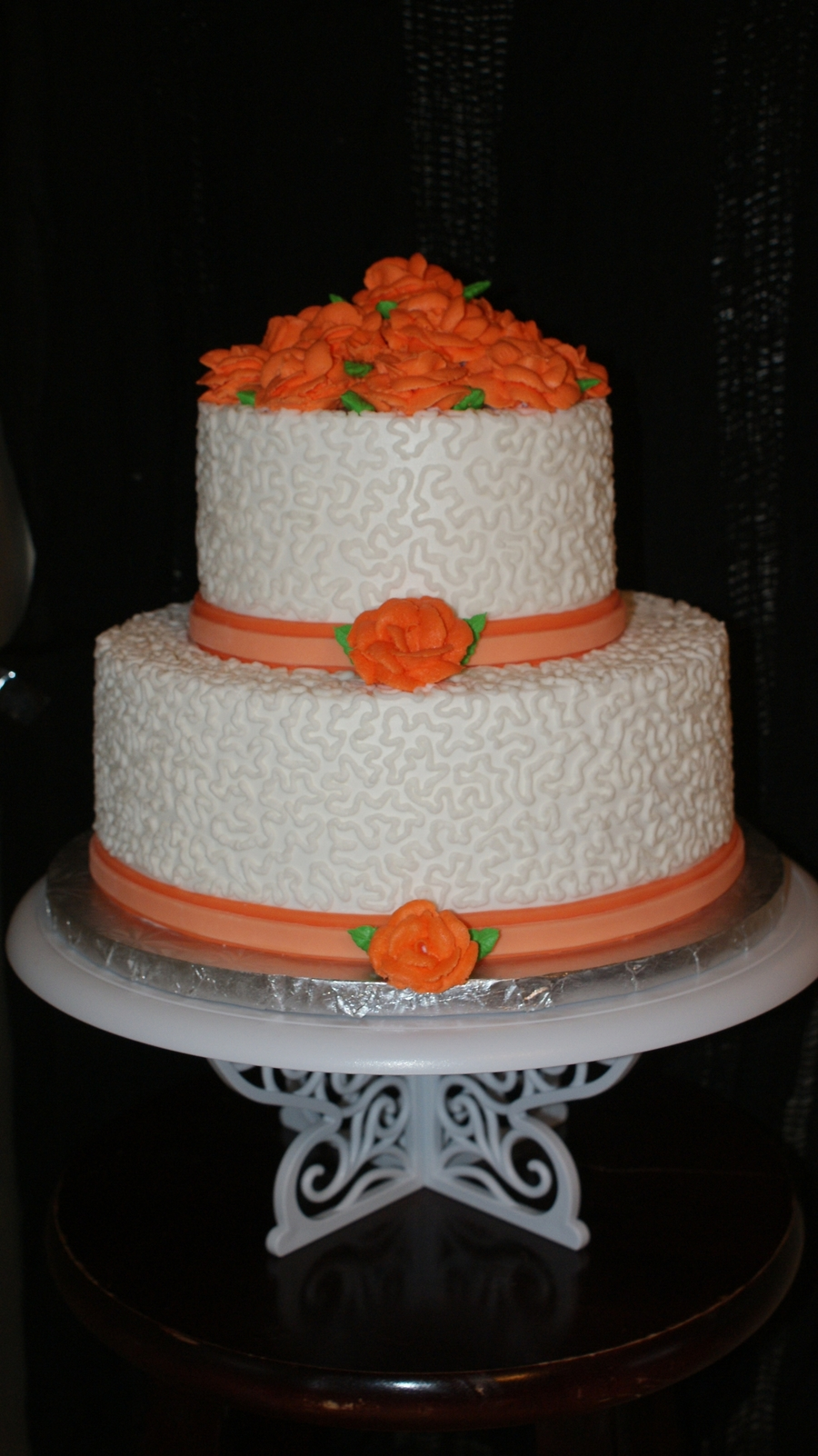 Orange Roses Wedding Cake on Cake Central