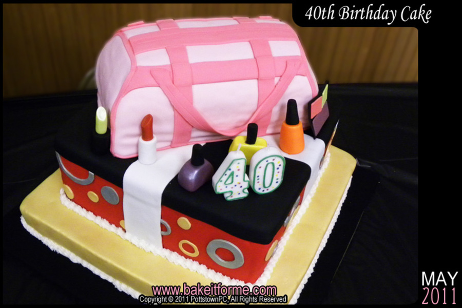 40Th Birthday Makeup Bag Cake on Cake Central