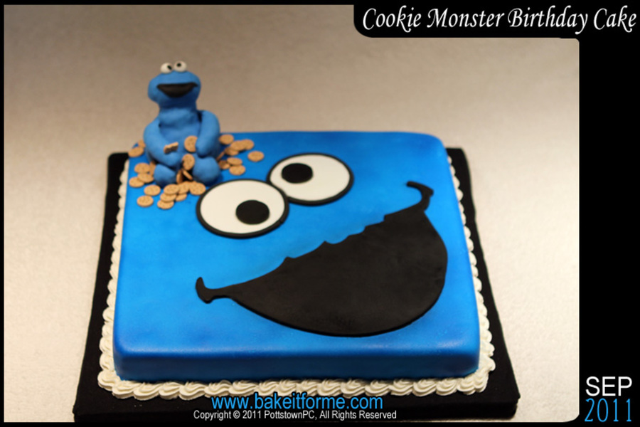Brilliant Cookie Monster Fondant Birthday Cake Cakecentral Com Funny Birthday Cards Online Elaedamsfinfo