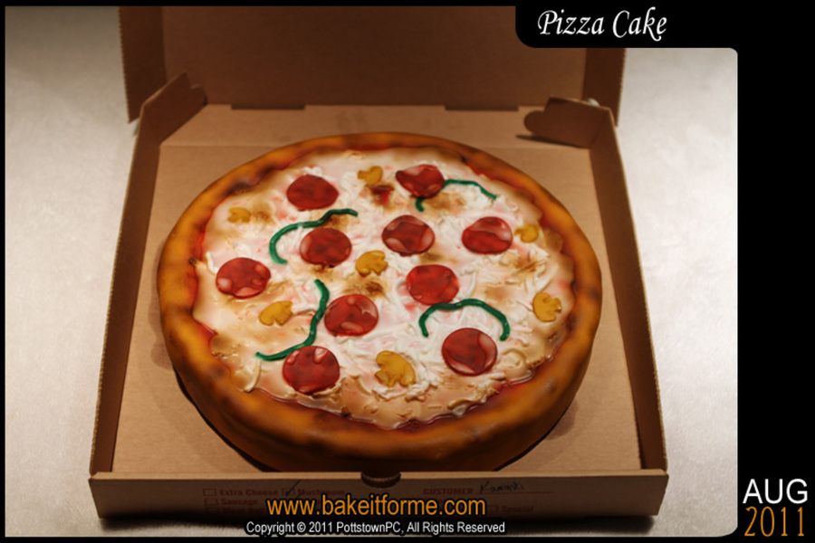 Fondant Pizza Cake on Cake Central