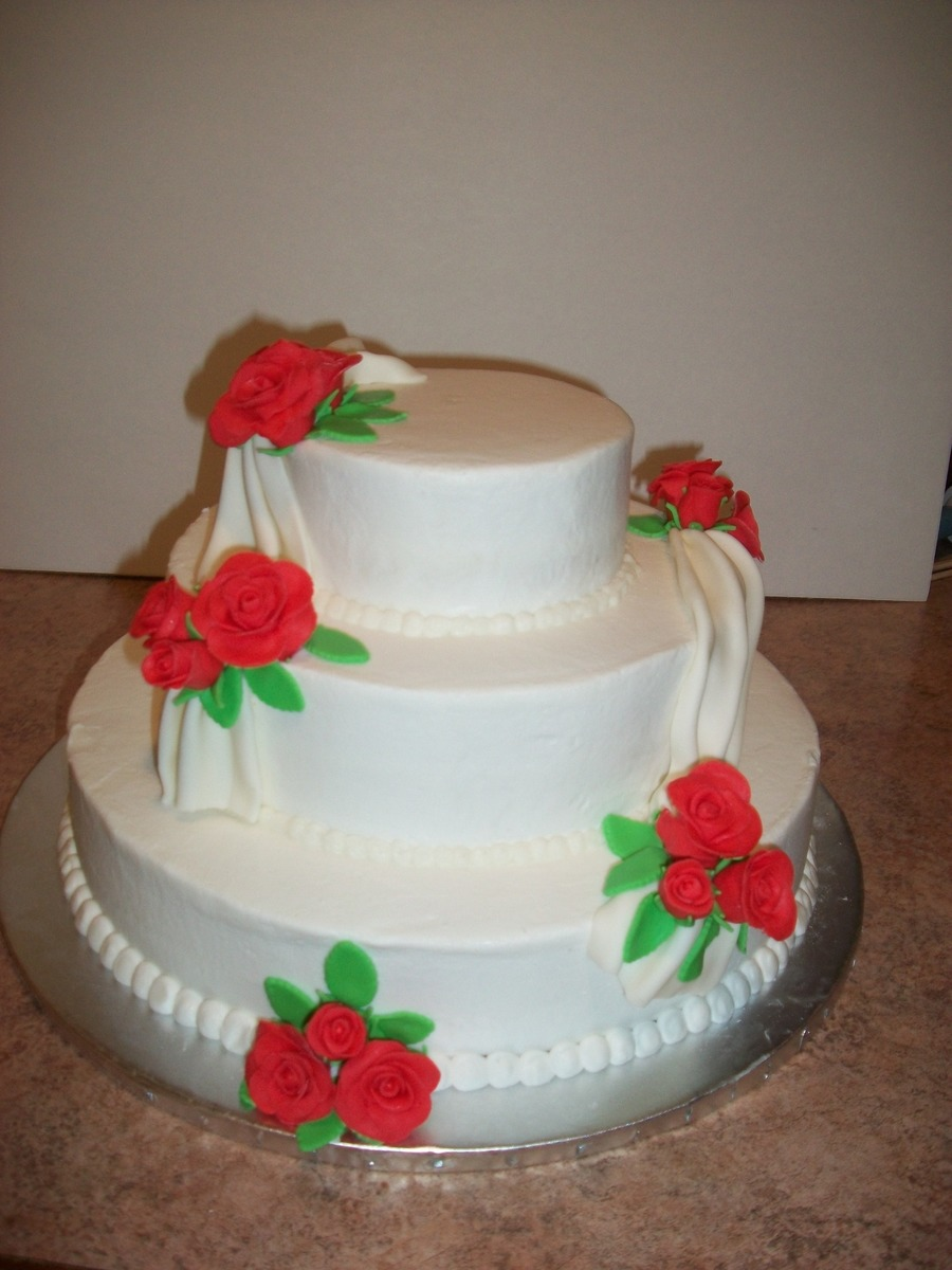 three tier wedding cake with roses 3 tier wedding cake with fondant roses cakecentral 20956