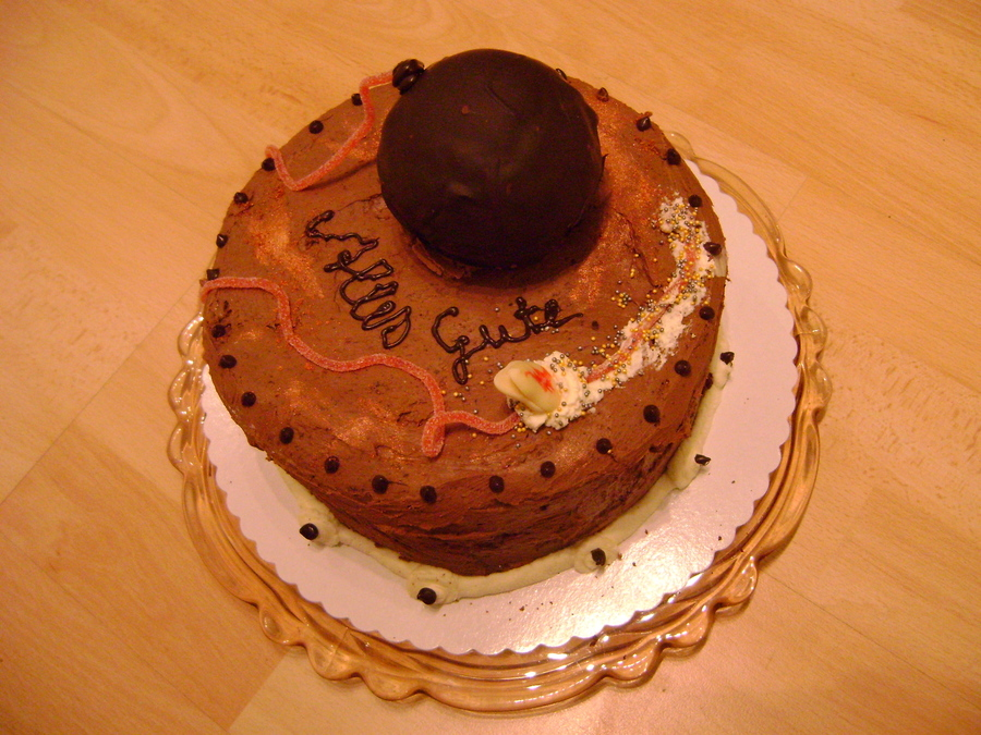 Boombastic Birthday Giant Cake Pop On Top Of Chocolate Cake on Cake Central