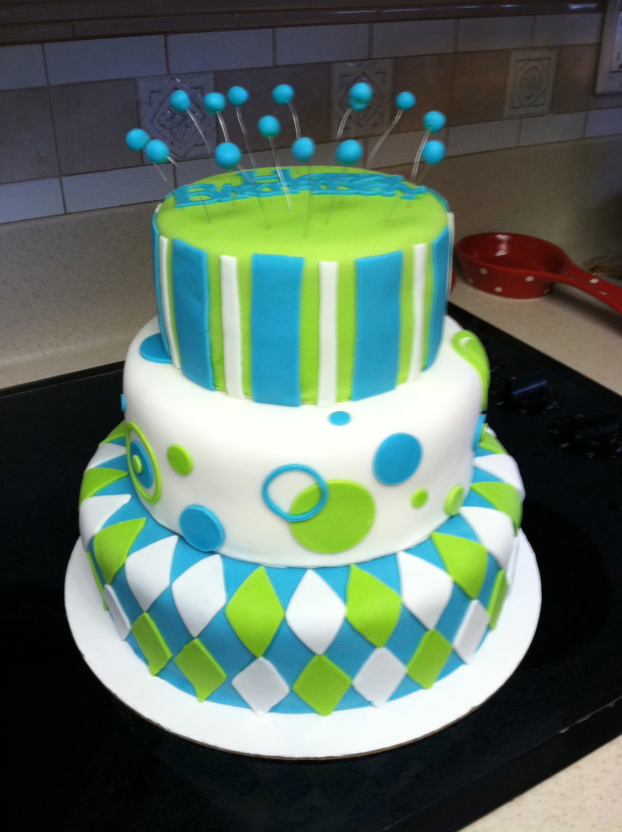Aqua And Lime Birthday Cake  on Cake Central