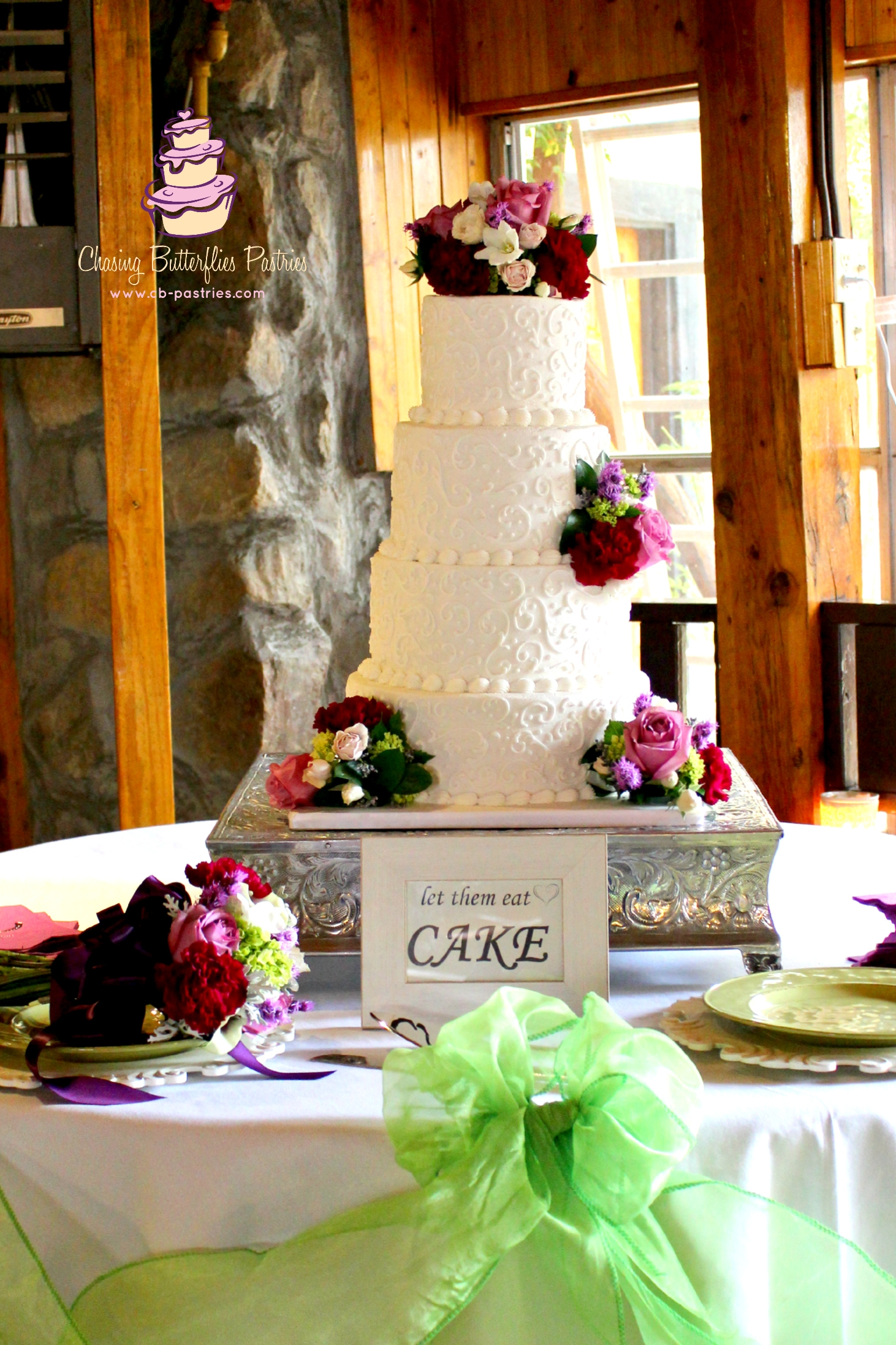 All Ivory Buttercream 4 Tier Wedding Cake With Delicate