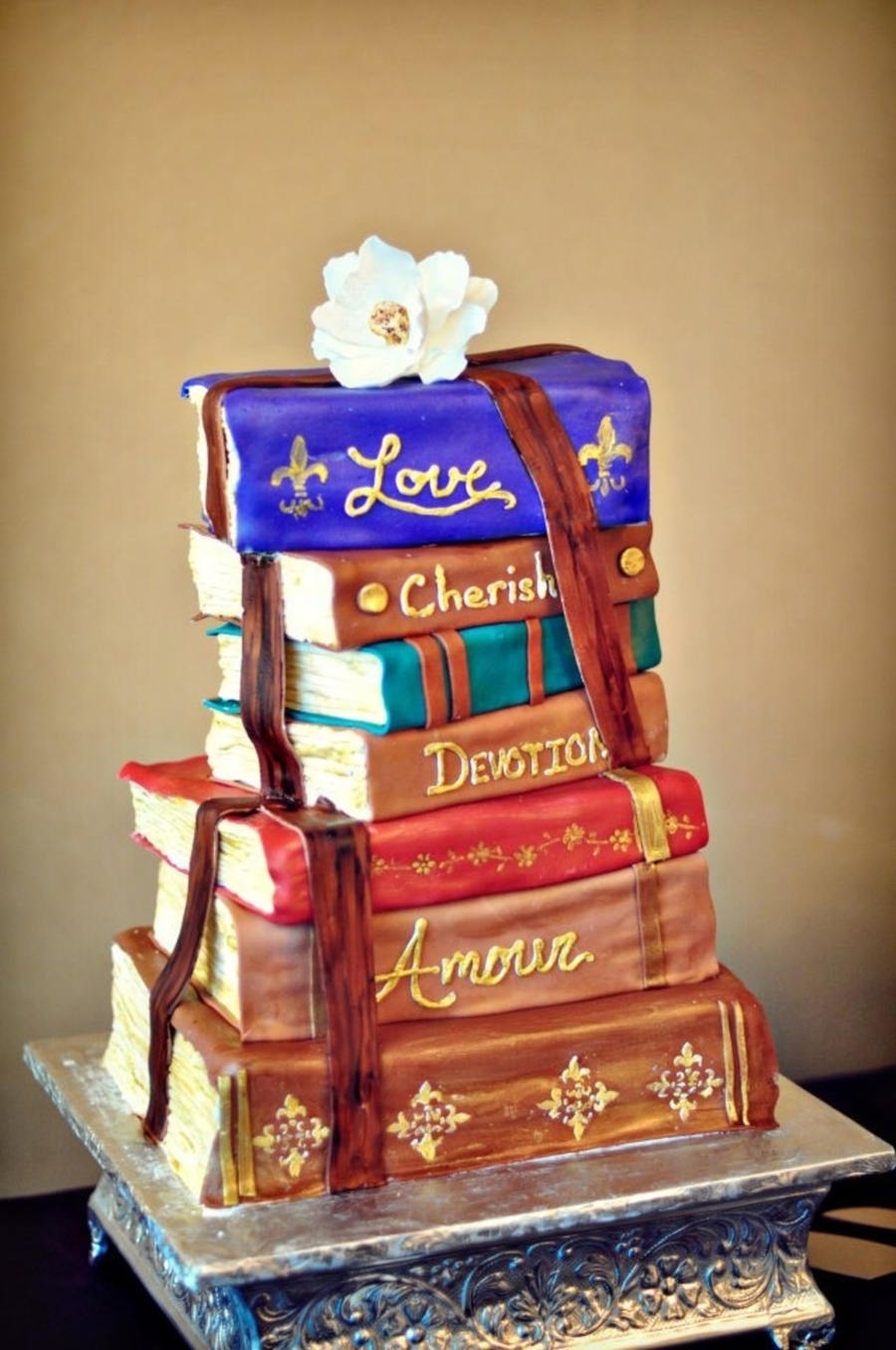 Cake Designs Book Shape : Romantic Stacked Books Wedding Cake - CakeCentral.com