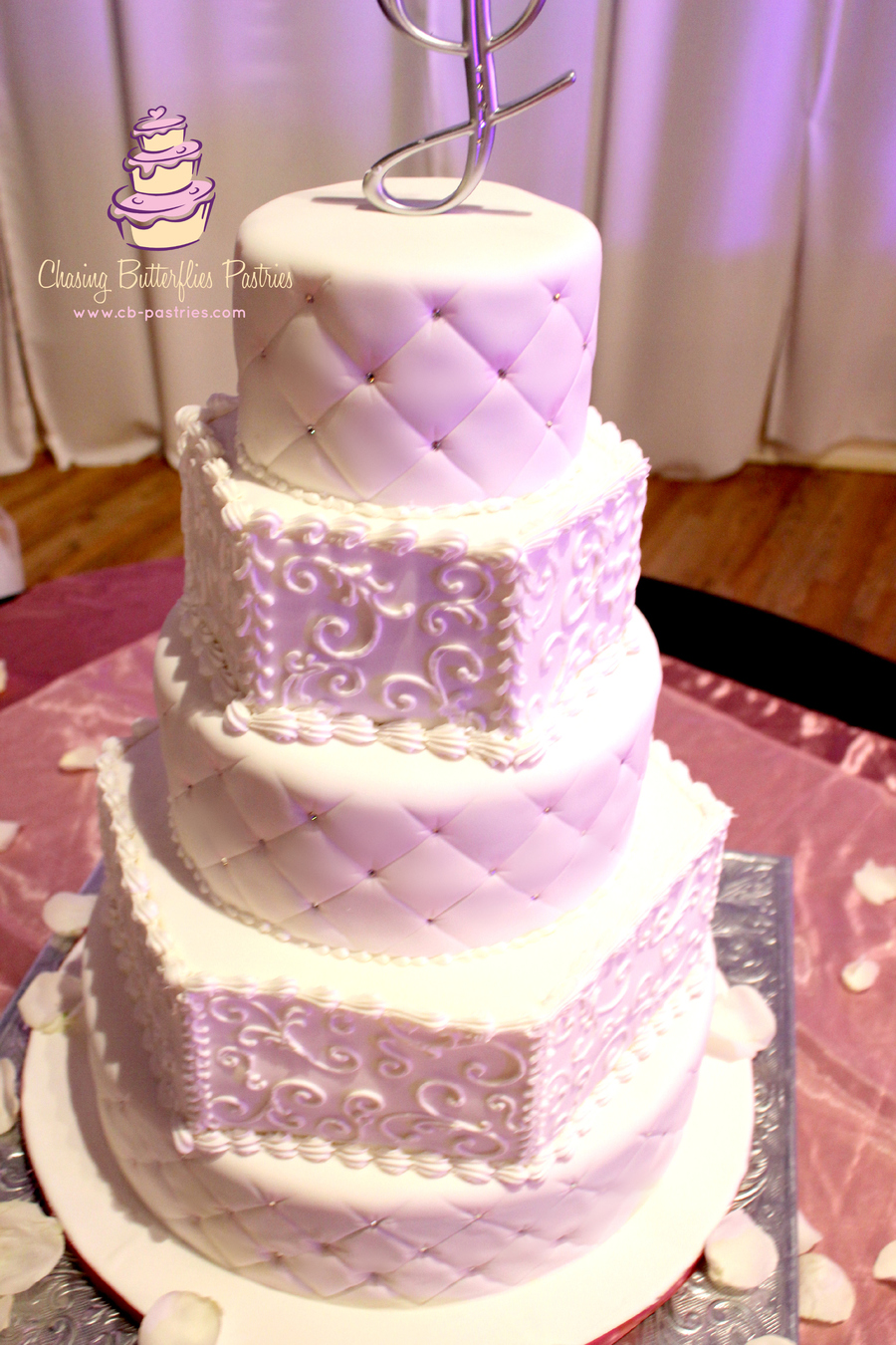 All White 5 Tier Wedding Cake With Quilting Detail And Hand Piped ...