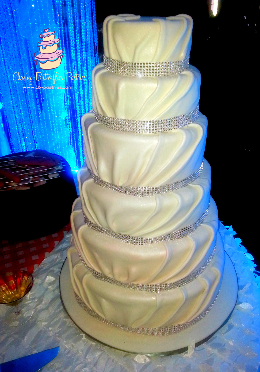 6 Tier Pearl White Pleated Fondant Wedding Cake With Bling