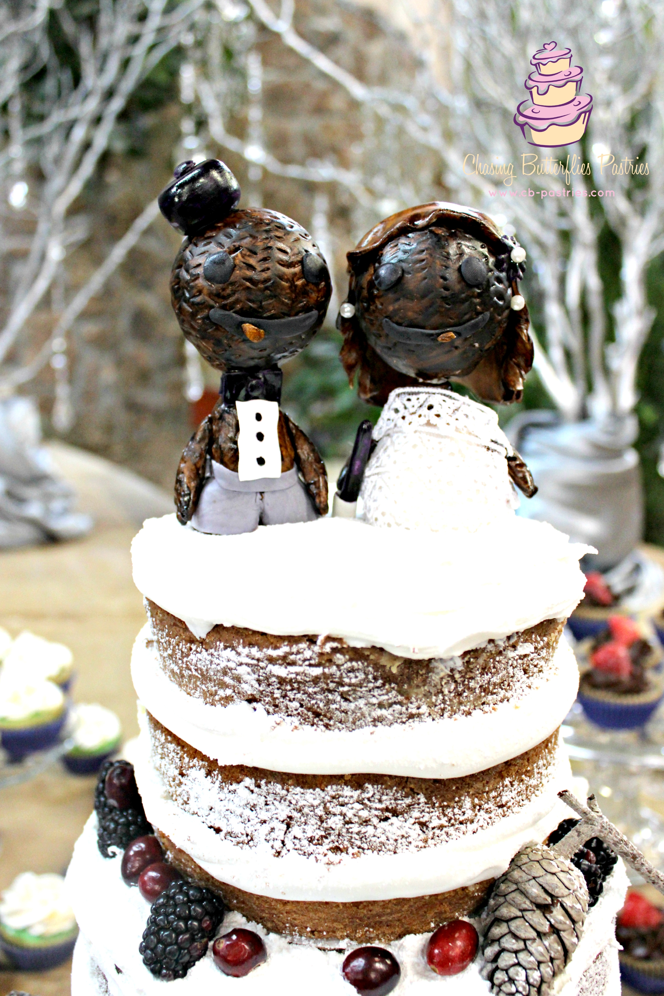 Winter Themed Rustic Naked Wedding Cake With Handmade