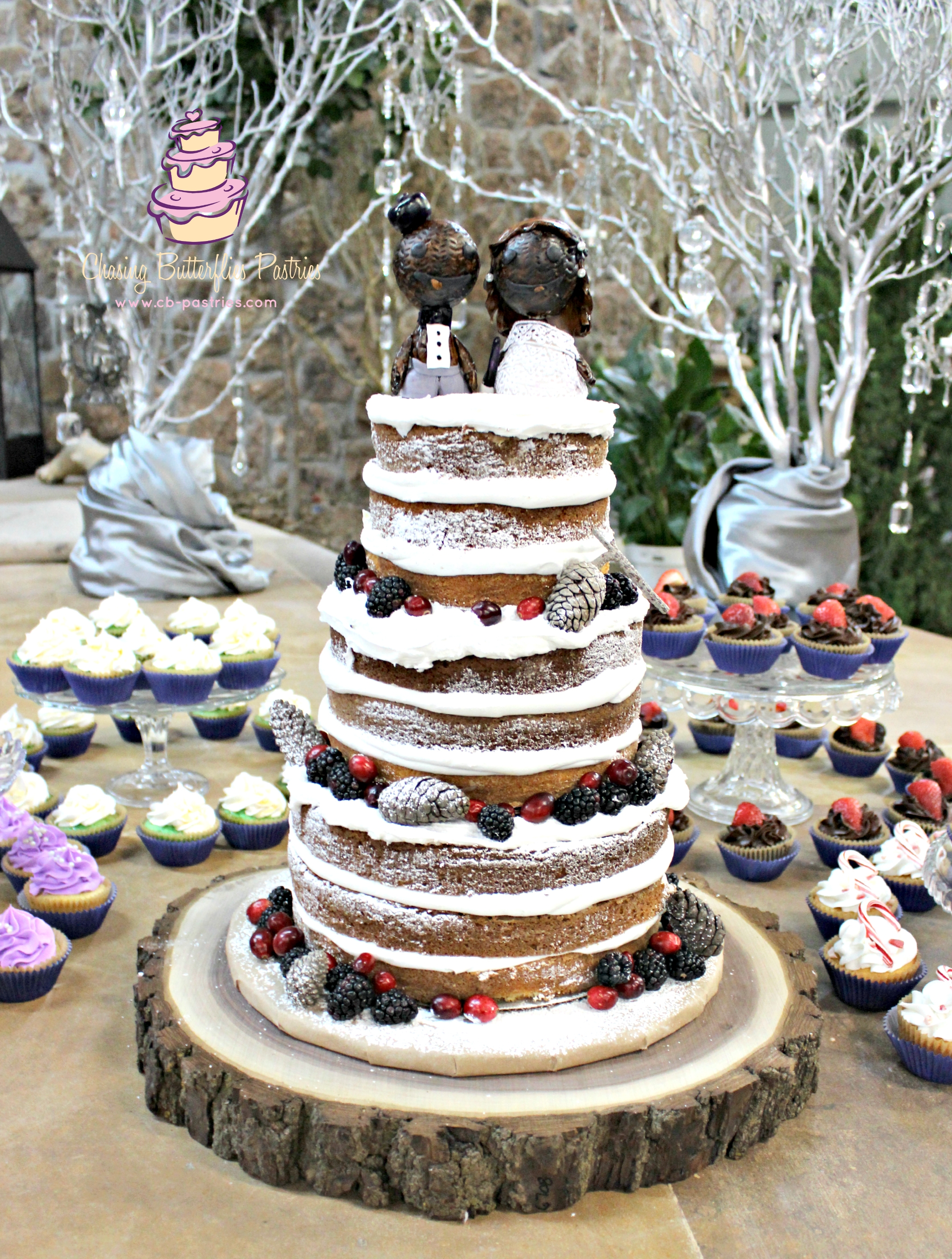 Winter Themed Rustic Naked Wedding Cake With Handmade Little Big Planet Toppers Fashioned After The Bride And Groom Complete A Unique Cupcake