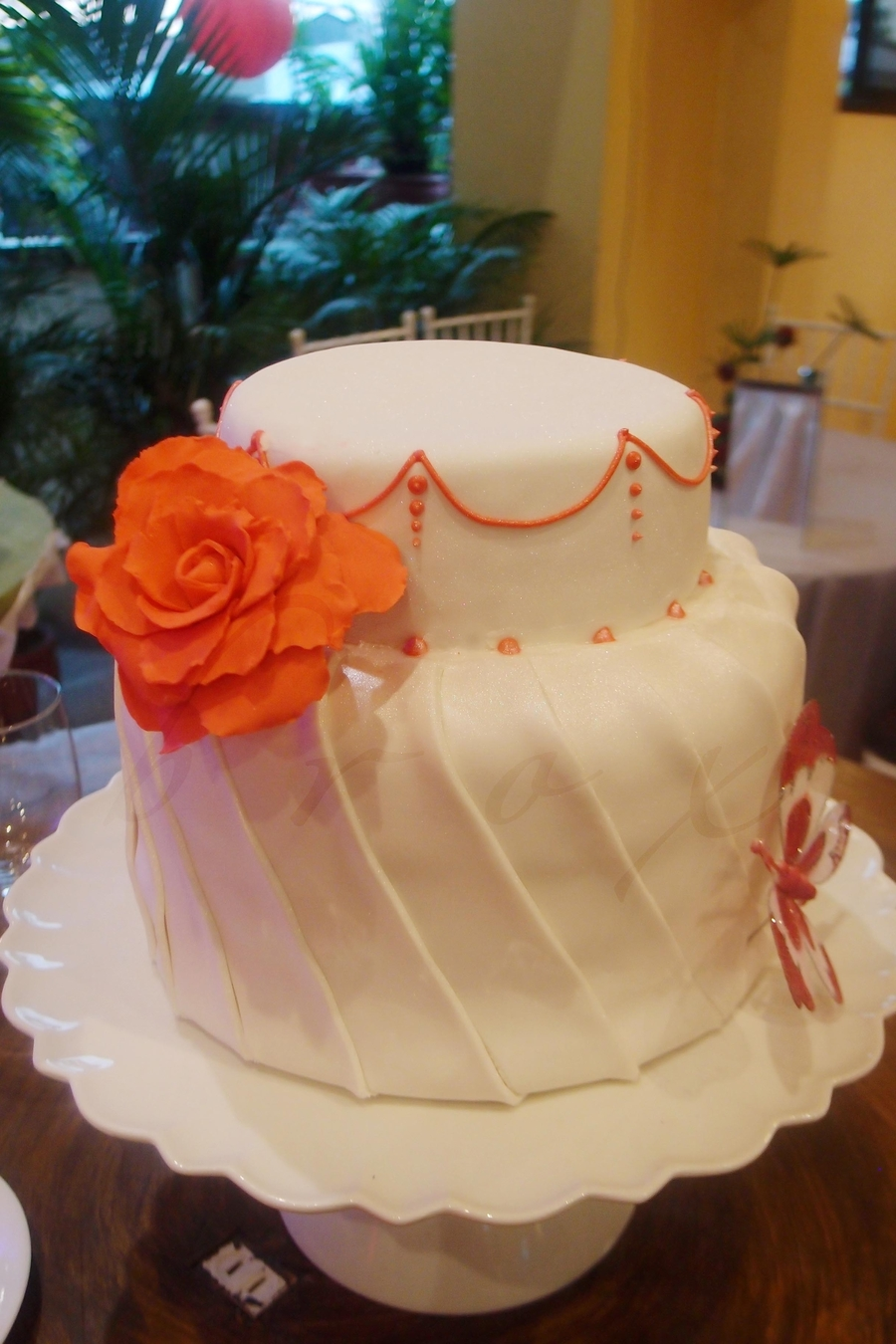 Pleated Wedding Cake on Cake Central