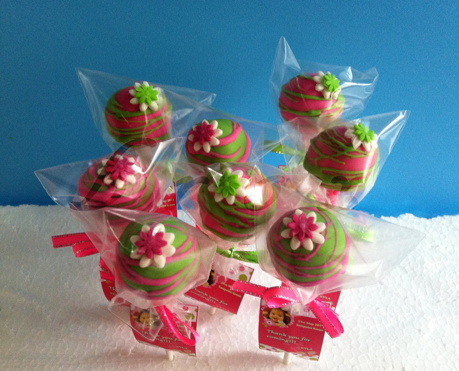 Pink And Green Cake Pops on Cake Central